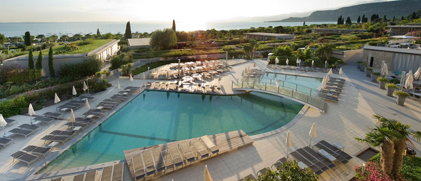 Hotel Germano, Bardolino, Lake Garda, Italy - Outdoor pool aerial view.jpg